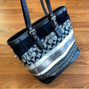 Coach Leather and Canvas Signature Patchwork Tote